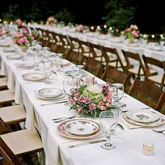 Vintage China Settings  Instead of renting china to serve so many guests, try finding vintage china at flea markets and antiques stores. Not only will it help with your budget, but the mixed patterns will make each setting special.