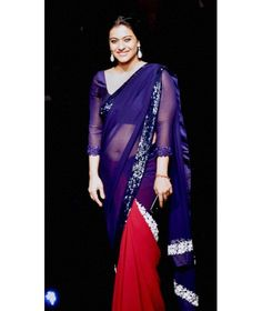 Buy Stunning Half and Half Saree with Sequins Border. Blue and Red Saree is Beautiful Saree for Party worn by Kajol. Indian Bollywood Actress, Indian Actress Hot Pics, Beautiful Bollywood Actress, Bollywood Fashion, Indian Actresses, Bollywood Images, Bollywood Girls, Beautiful Muslim Women, Beautiful Girl Indian