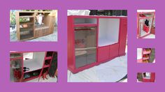 Entertainment Center turned little girls Pink closet, chalkboard inside end door, dowel for hanging little clothes, drawers for books and toys, mirror in the center, unit is on wheels for easy placement
