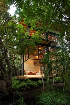 landscape boho green architecture bohemian Dream Home dream house interiors treehouse Breathtaking organic tree house lush jungle go green rain forest dwell organic architecture beautiful homes Organic Living amazing houses organic home Jungle House, Forest House, Green Architecture, Architecture Design, Organic Architecture, Landscape Architecture, Installation Architecture, Pavilion Architecture, House Landscape