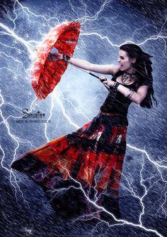 I love the way she's fighting the lightning...the ideas run rampant...by DevArt artist BvandenBerg