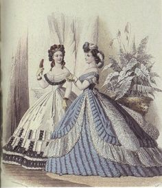 1863 - Evening & bal gown in le Moniteur de la Mode