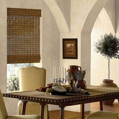 ORC blinds - Cordless Bamboo Woven Wood Shades in Dinning Room
