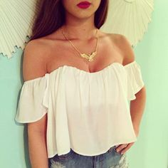 Off shoulder crop top.