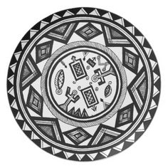 Tribal Spirits Dinner Plate - Tribal Spirits www.zazzle.com/witchesHammer  Ancient design inspired by carvings on gourds found in Nigeria. See more African tribal designs in my Zazzle shop: www.Zazzle.com/WitchesHammer