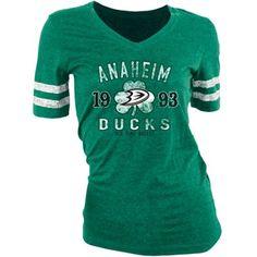 Old Time Hockey Anaheim Ducks Ladies St. Patrick's Day Slaney V-Neck T-Shirt - Green