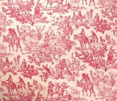 L'Ane Toile de Jouy Fabric Red scenic print on white cotton
