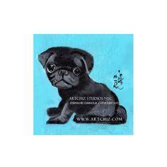 Black PuG Art. Black Pug Illustration. Art. Print. by ArtChiz
