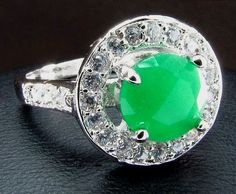 Emerald Topaz Silver Solitaire with accents Ring Size 8 USA Bling #silvestromedia #SolitairewithAccents