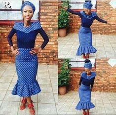 Awesome African Shweshwe Dresses for Women 2017 - Reny styles African Print Dresses, African Print Fashion, African Fashion Dresses, African Dress, African Prints, African Clothes, Africa Fashion, Traditional Dresses Designs, African Traditional Dresses