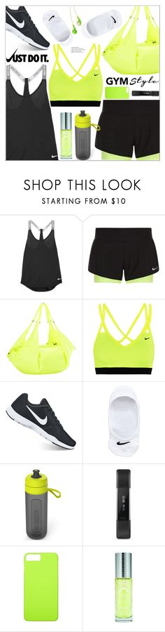 """""""Gym Style"""" by arohii ❤ liked on Polyvore featuring NIKE, Brita, Fitbit, JVC, Sisley, fitness, gymessentials and Fitnessfam"""