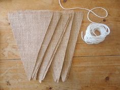 DIY Make It Yourself Blank Triangle Burlap Flag Banner Bunting Garland Set of 6  for Party / Wedding / Shower / Save the Date via Etsy
