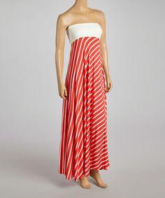 Coral & White Stripe Strapless Dress