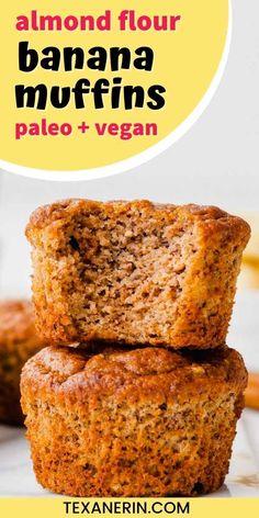 Almond Flour Banana Muffins (paleo, vegan option) - Texanerin Baking Almond Flour Cakes, Almond Flour Muffins, Almond Flour Recipes, Baking With Almond Flour, Banana Flour, Flours Banana Bread, Vegan Cake, Paleo Vegan, Paleo Banana Muffins