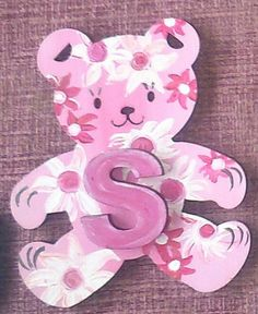a pretty in pink flower bear. letter 'S' on the by ArtZeeboze