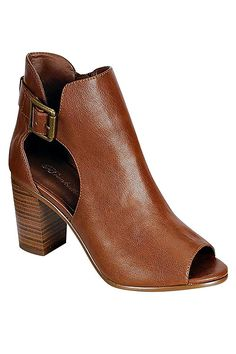 BUCKLE TRIM ANKLE BOOTS-Tan