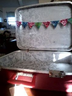 vintage red suitcase.  Restored the interior
