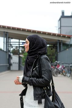 Beautiful leather jacket (Love her wearing this with her hijab! Rocking it) LOVE THiS bc i will be were one, one day!