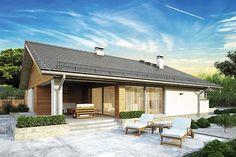 Parterowy dom z zadaszonym tarasem i garażem - Studio Atrium Atrium, Home Design Plans, Studio, Villa, House Design, Patio, Outdoor Decor, Home Decor, Case
