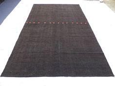 "Black Traditional Kilim Rug,6,6""x10,11"" Feet 198x334 Cm Home Floor Decor Goat Hair Woven Nomadic Kilim Rug,Turkish Kilim Rug,Natural Wool."