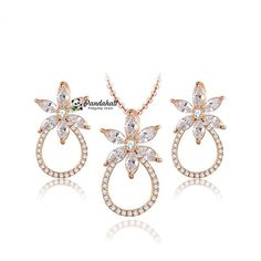 """Flower Pendant Necklaces and Stud Earrings, 16.14"""" from Pandahall Flagship Store on Aliexpress.com"""