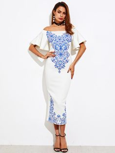 07c5943fb45c04 Shop Bell Sleeve Porcelain Print Bardot Dress online. SheIn offers Bell  Sleeve Porcelain Print Bardot Dress & more to fit your fashionable needs.