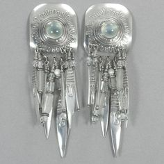 SKU: VINTAGE PF 75 SP Sterling silver Tabra vintage post earrings set with an Egyptian scarab, and with a variety of beads including heishi shell, green dentalium shell, caribou bone, and turquoise. C