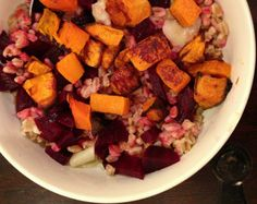 Roasted Root Vegetable & Farro Bowl #MeatlessMonday