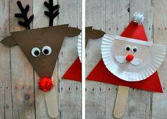 Christmas crafts with children wooden sticks DIY craft ideas