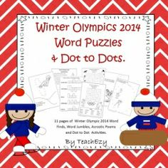 Winter Olympics 2014 Word Puzzles and Dot to Dot Holiday Classrooms, Classroom Ideas, Olympic Crafts, 13th Birthday Parties, 3rd Grade Classroom, Word Puzzles, Winter Olympics, Lets Celebrate, Winter Theme
