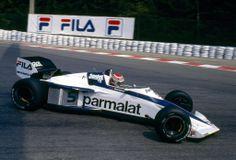 Nelson Piquet, Parmalat Racing Brabham BT52, gets his car sideways as he exits La Source. Spa Francorchamps 1983
