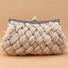 I love the look of this woven clutch. It would be perfect for a bride on her wedding day--especially for a classic romantic wedding. - Pleated and Braided Satin Rhinestone Studded Wedding Evening Bridal Clutch Purse - Bridesmaid Clutches, Beautiful Bags, Clutch Purse, My Bags, Tote Bags, Evening Bags, Purses And Handbags, Cheap Handbags, Handbags Online