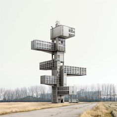 Belgian artist Filip Dujardin cuts, pastes and recomposes photographs, creating a dystopian fiction of imaginary buildings.