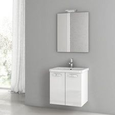 Pic On Give your bathroom a quick update with this stylish white vanity With one door one drawers and slim styling this vanity from Glenwood is both mo u