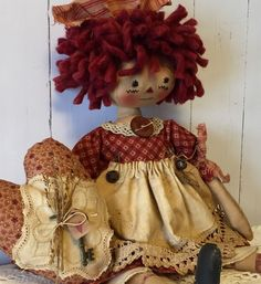 Primitive Valentine Folk Art Doll Ann Annie Heart Ornie Hang Tag Rustic Key Prim #NaivePrimitive #Seller