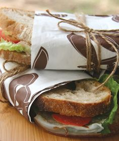 Wrap sandwiches in patterned paper napkins and tie with string.