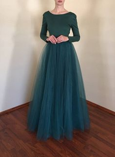 2018 New Arrival Puffy Maxi Skirt Tulle Skirt Long Elastic Womens High Waisted Skirts Petticoat Bridesmaid To Wedding Party Hijab Evening Dress, Hijab Dress Party, Hijab Style Dress, Casual Dress Outfits, Green Tulle Skirt, Green Maxi, Robes D'occasion, Full Length Skirts, The Dress