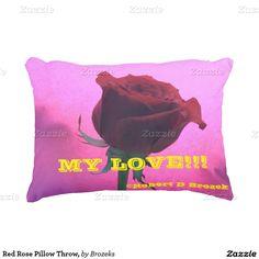 Red Rose Pillow Throw, Accent Pillow