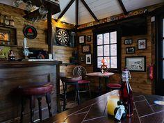 Diy Home Bar, Home Pub, Bars For Home, Bar Interior, Restaurant Interior Design, Restaurant Furniture, Interior Garden, Man Cave Shed, Man Cave Home Bar
