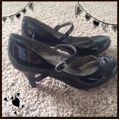 Shoes from Merona This is a pair of black patent, Mary Jane style heels by Merona from Target. Size 6.5. Great condition. Only worn about 3 times & mostly indoors. Merona Shoes