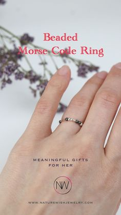 """This stackable ring is handcrafted from sterling silver and hematite beads on stretch cord. Embellished with the word """"LOVE YOU"""" in Morse code, this ring is perfect to express your love. Mix, match and stack it with different rings for a unique look. #morsecodering #morsecodejewelry #beadedring Meaningful Gifts For Her, Gifts For Mom, Beaded Wrap Bracelets, Beaded Rings, Personalised Gifts For Him, Personalized Jewelry, Rings With Meaning, Anniversary Gifts For Husband, Morse Code"""