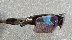 Oakley Flak Polarized Sport Sunglasses Made in USA Bold Black Rubber Trim