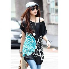 Stylish Floral Print Off-The-Shoulder Ice Silk Cotton T-Shirt For Women