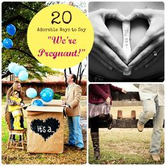 "20 Adorable Ways to Say ""We're Pregnant!"" I'm adding this in for maternity shots I thought would be cute for our clients"