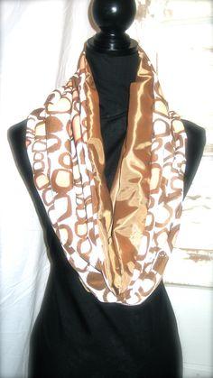 Montauk Chocolate & Pink ZIp Infinity Scarf by StitchofStyle, $23.00