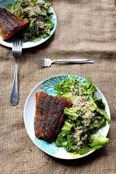 Blackened Cajun Salmon with Mayo Free Avocado Caesar Salad and Brazil Nut Parmesean - Naked Cuisine