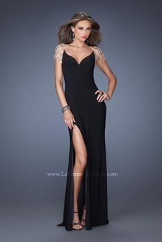 Size 2 Black La Femme 20025 Crystal Chandelier Evening Dress- Watch the ball  drop in this elegant and sophisticated gown by La Femme. 4f124fb06f57