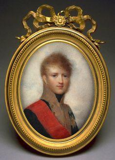 Carl von Baden portraitiert en miniature von Jean Baptiste Isabey, 1805. Carl war etwa 19 Jahre alt. Abm. 5.3 x 4.7 cm. Wert geschaetzt auf Euro 7,500