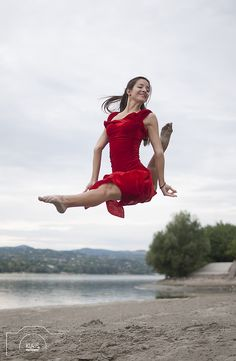 https://flic.kr/p/xkSC5n | Wild rose - by KLAUS Photography by Olivera Radosavljevic | Female dancer in red dress jumping on the beach.