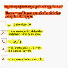 TEJIDOS A DOS AGUJAS - TRICOT= PATRONES= GRAFICOS=TODO GRATIS: Explicaciones de los símbolos